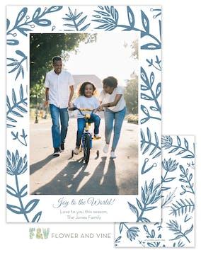 Blue Flora Digital Photo Card