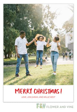 Merry Christmas Brush Lettering Digital Photo Card
