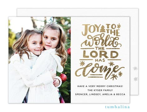 Joy to the World the Lord Has Come  Holiday Photo Card