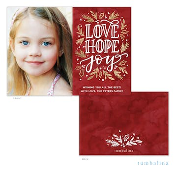Love Hope Joy  Holiday Photo Card