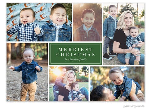 Merry Collage (Green) Holiday Photo Card