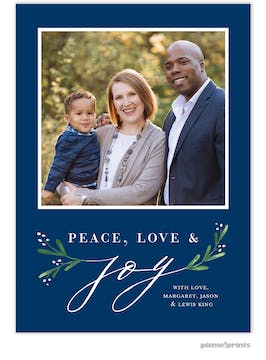 Joy Greenery (Navy) Holiday Photo Card