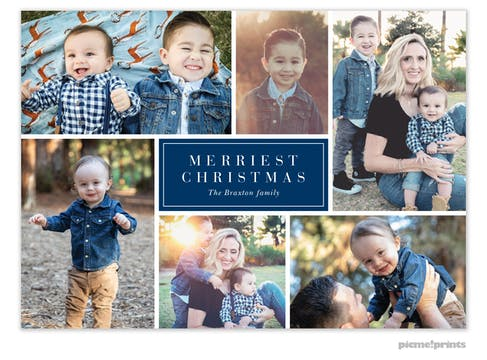 Merry Collage (Navy) Holiday Photo Card