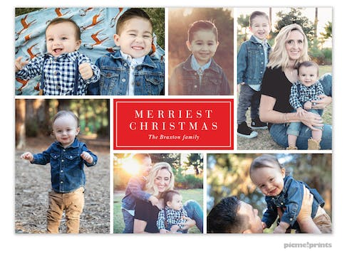 Merry Collage (Red) Holiday Photo Card