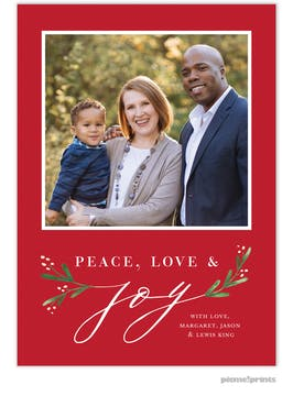 Joy Greenery (Red) Holiday Photo Card