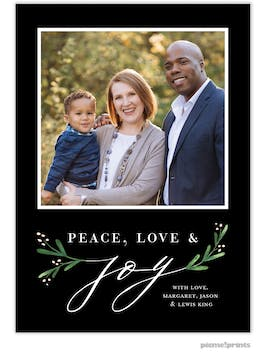 Joy Greenery (Black) Holiday Photo Card