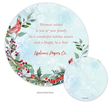 Round Cardinals & Holly Invitation