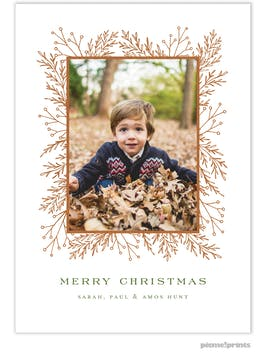 Garland Edge (White) Holiday Photo Card