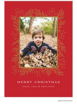 Garland Edge (Red) Holiday Photo Card
