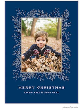 Garland Edge (Navy) Holiday Photo Card