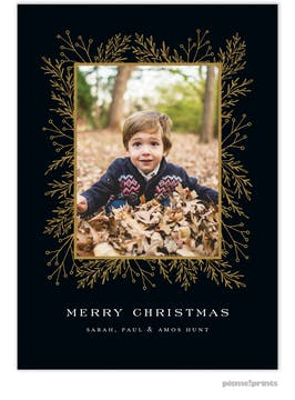 Garland Edge (Black) Holiday Photo Card