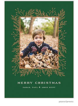 Garland Edge (Green) Holiday Photo Card