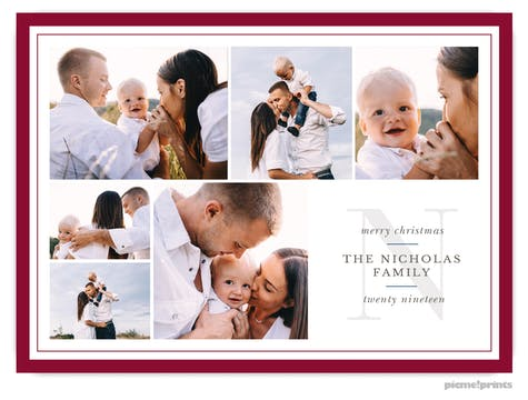 Family Initial (Cranberry) Holiday Photo Card