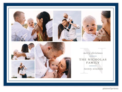 Family Initial (Navy) Holiday Photo Card