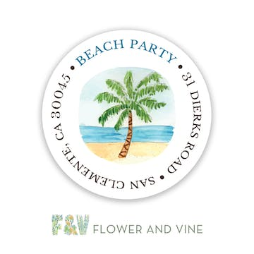 By the Beach Palm Return Address Label