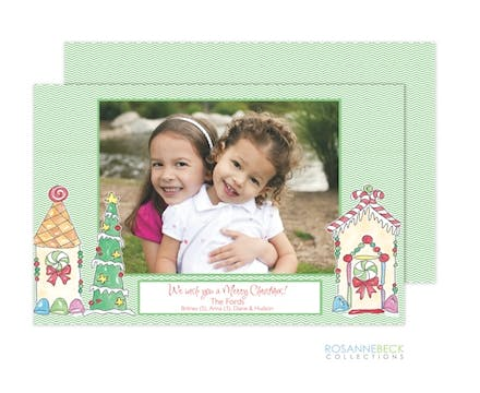 Gingerbread House Flat Photo Card