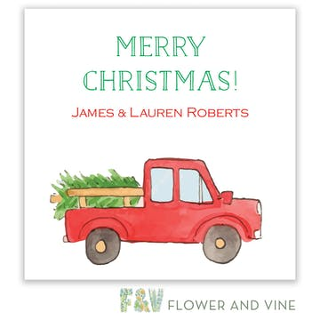 Christmas Tree Truck Gift Sticker