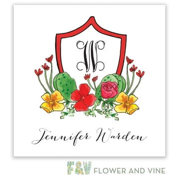 Cactus and Floral Crest Gift Sticker