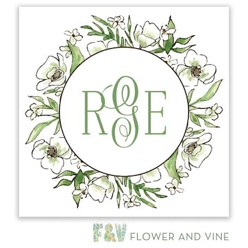 White Floral Wreath Gift Sticker