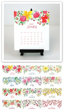 Watercolor Floral 2020 Desk Calendar & Easel
