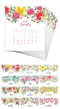 Watercolor Floral 2020 Desk Calendar Refill