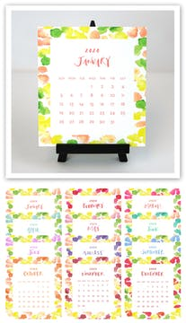 Watercolor Dots 2020 Desk Calendar & Easel