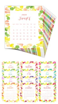Watercolor Dots 2020 Desk Calendar Refill