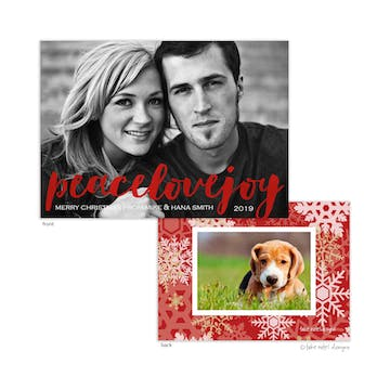 Peace Love Joy Foil Pressed Holiday Photo Card