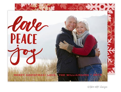 Love Peace Joy Foil Pressed Holiday Photo Card