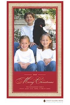 Vintage Wrap - Burlap Border - Red Print & Apply Holiday Flat Photo Card
