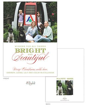 Classic Bright And Beautiful Holiday Flat Photo Card