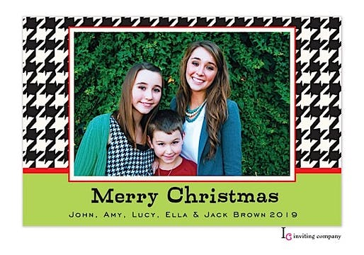 Limey Houndstooth Holiday Flat Photo Card