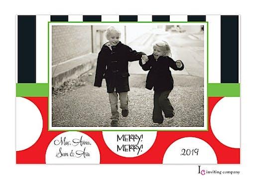 Black Stripe Holiday Flat Photo Card