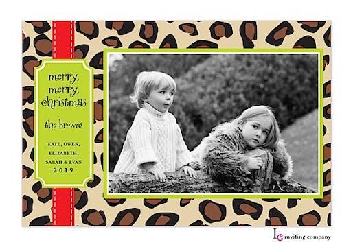 Leopard Ribbon Holiday Flat Photo Card