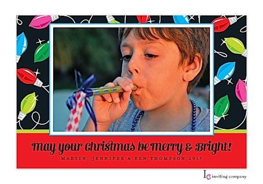 Bold Lights Holiday Flat Photo Card