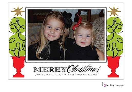Topiary Cheer Holiday Flat Photo Card