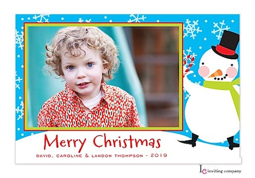 Happy Snowman Holiday Flat Photo Card