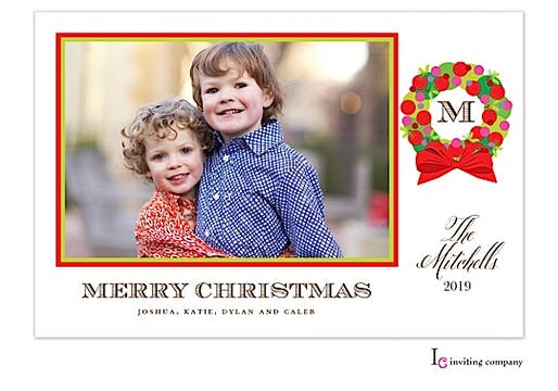 Wreath Cheer Holiday Flat Photo Card