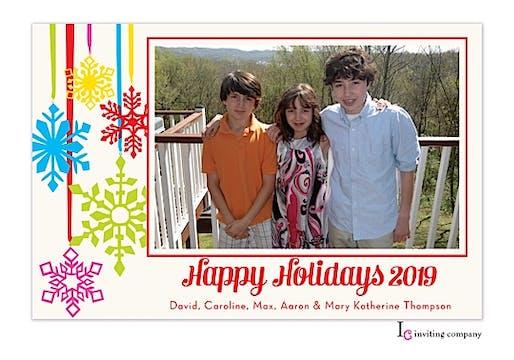 Snowy Trim Holiday Flat Photo Card