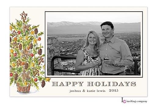 Woodland Tree Holiday Flat Photo Card