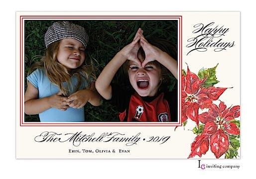 Poinsettia Holiday Flat Photo Card