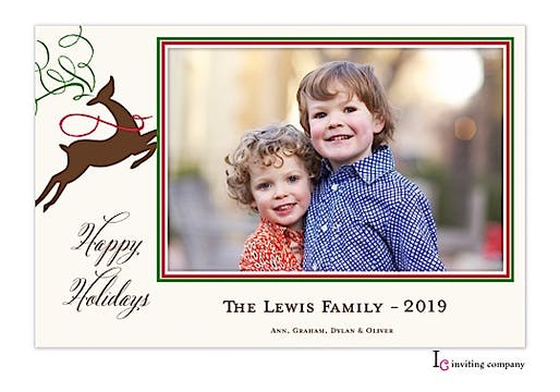 Reindeer Grace Holiday Flat Photo Card