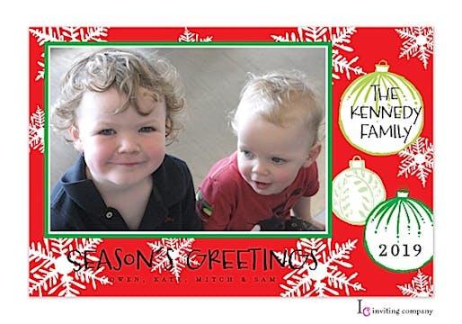 Retro Ornaments Holiday Flat Photo Card