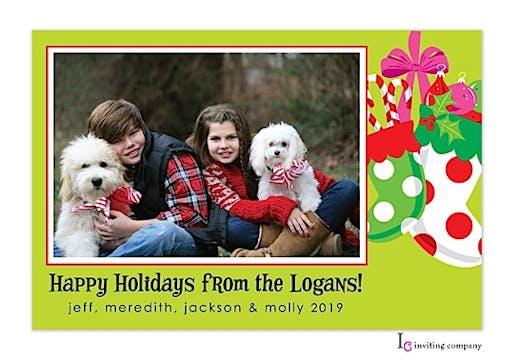 Stocking Cheer Holiday Flat Photo Card