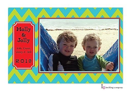Jolly Chevron Holiday Flat Photo Card
