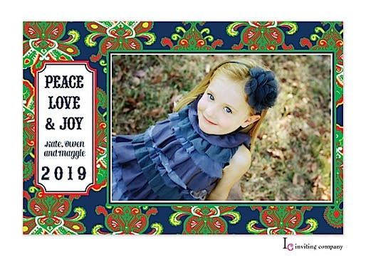Black Couture Holiday Flat Photo Card