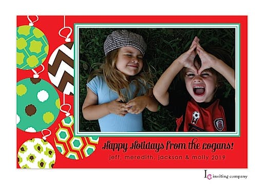 Ornament Swing Holiday Flat Photo Card