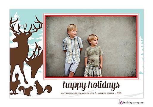Woodland Holiday Holiday Flat Photo Card