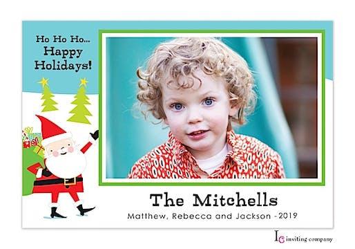 Happy Santa Holiday Flat Photo Card