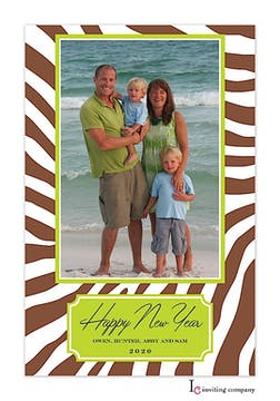 Zebra Citrus Holiday Flat Photo Card